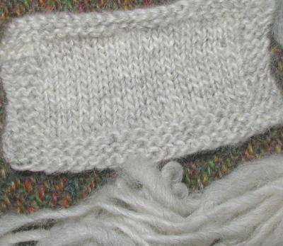 Knit sample of singles yarn